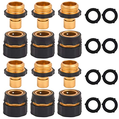 Tool Daily Garden Hose Quick Connect Fitting, 3/4 Inch Male and Female, Water Hose Quick Connector, 6 Set