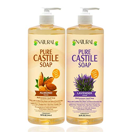 Dr. Natural, Pure Castile Liquid Soap, (Almond, Lavender 32 Ounce 2-pack) Ultra-moisturizing Body Wash, Shampoo, Facial Cleanser Or Hand Wash.