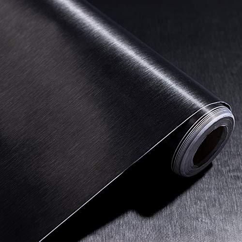 PROHOUS 60 * 500CM 0,3mm Verdickte Kühlschrankfolie Klebefolie Edelstahl Gebürstet Möbelfolie PVC Schwarz Dekofolie Selbstklebend Metalloptik Küchenfolie Folie für Möbel Küchenschränke Tapete