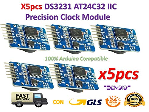 TECNOIOT 5pcs DS3231 AT24C32 IIC Module Precision Clock Module DS3231