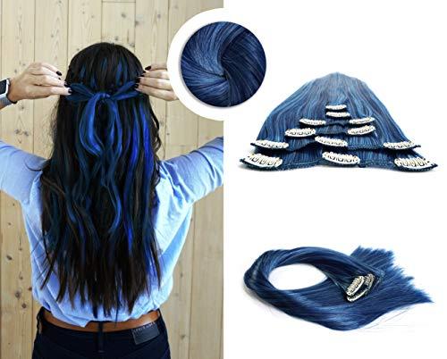 Extenssa - Trend Line, Clip-in Hair Extensions, 6 Teile, 44cm, Haarverlängerung, Deep Sea Blue