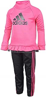 adidas Girls Tricot Jacket and Pant Set (Magenta/Black, 5)