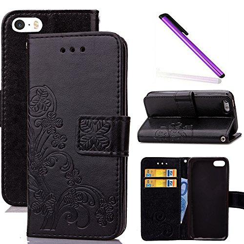 COTDINFOR iPhone 5C Funda trébol Cierre Magnético Billetera con Tapa para Tarjetas de Cárcasa Elegante Retro Suave PU Cuero Caso Protectora Case para iPhone 5C Clover Black SD