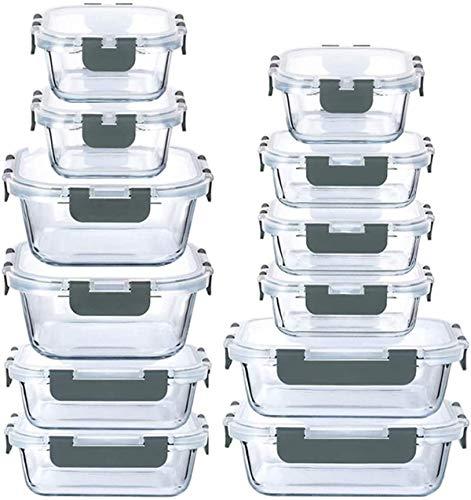 LYTIO - Juego de 24 Piezas recipientes herméticos y a prueba de fugas reutilizables resistentes a manchas y olores con tapas de cierre a presión para microondas horno lavaplatos y congela (Nuevo Gris)