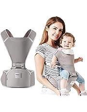 Babybärare höftsits fram och bak andningsbar ergonomisk bärryggsäck 4 positioner 0–36 månader Grå