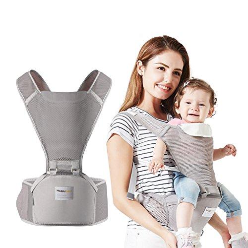 Babytrage Kindertrage mit Hüfte Sitz Ergonomische Atmungsaktiv Rucksack Tragen 4 Stellung 3-36 Monate,Grau