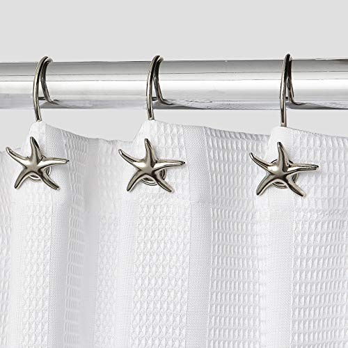 Hermosa Collection Decorative Star Fish Chrome Shower Curtain Hooks
