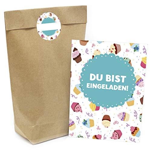 Praktisches Kindergeburtstag Set mit 16 Geschenktüten (Party-Tüten), Einladungskarten und Aufklebern Motiv: Cupcakes und Muffins