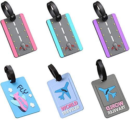 Etichette per Bagaglio, COTEY 6 Pezzi Silicone Etichette per Valigie Tag Valigia Tag Etichetta per Bagagli in Silicone per Borsa da Viaggio, Valigie, Zaini, 10.6x6.5 cm(6 Stili)