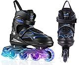 KGK Kids Adults Inline Skates for Women Girls,Outdoor Roller Blades Skates for Youth Girls Boys Women Men Roller Skates Shoes for Beginners Ice Skates Kids Ladies Gift (Blue, Large 7-9)