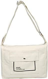 WOONN WOONN Lässige Leinwand One-Shoulder-Handtasche Aus Segeltuch Für Studenten Mit Großer Kapazität, Weiß