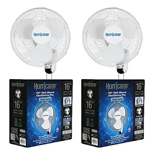 Hurricane Fans Classic 16' Wall Mount Oscillating Fan, 2 Count