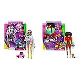 Barbie Extra Muñeca Articulada con Trenzas De Colores, Accesorios De Moda Y Mascota (Mattel Grn29) + Muñeca Extra 2 con Un Look Brillante Y Cachorrito De Mascota, Color (Mattel Gvr04)