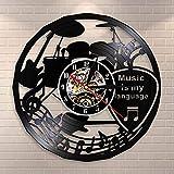 Music Is My Language Reloj de pared con cita inspiradora Música Teatro Decoración Guitarra Tambores Vintage Vinilo Record
