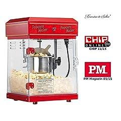 "Rosenstein & Söhne Popcorn Machine: Professional Retro Popcorn Machine ""Cinema"" med rostfri kruka i 50-talsstil (professionell popcornmaskin)"