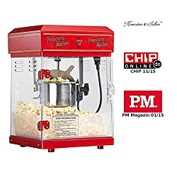 "Rosenstein & Söhne Popcornmaschine: Profi-Retro-Popcorn-Maschine""Cinema"" mit Edelstahl-Topf im 50er-Stil (Profi Popcornmaschine)"