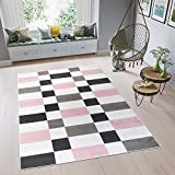 Tapiso Pimky Alfombra de Salón Sala Juvenil Diseño Moderno Rosa Gris Blanco Negro Geométrico Suave Delgada 80 x 150 cm