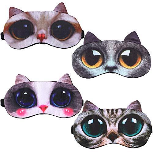 AODOOR 4 Stück 3D Cartoon Schlafende Augenmaske, Tragbare Verstellbare SchlafaugenmaskeSchlafende Augenmaske, Weiche Komfortable Hilfe Cartoon-Maske