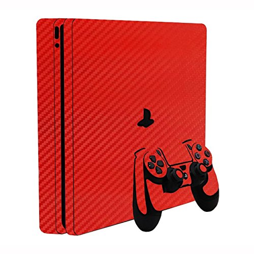 3D Carbon Fiber Fire Red - Air Release Vinyl Decal Faceplate Mod Skin Kit for Sony PlayStation 4 Slim (PS4S) Console by System Skins