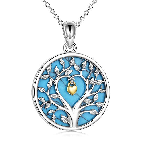 Tree of Life Necklace, Women 925 Sterling Silver Pendant with Chain, Fine Jewellery VONALA, Best Gifts for Wife, Mum and Girlfriend (Blue Turquoise)