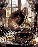 番号でペイントキットDIY油絵キット大人用ブラシとアクリル顔料付き初心者40x50cmフレームなしウィンドウ蓄音機