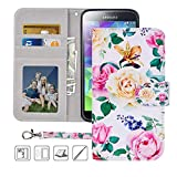 S5 Wallet Case, Galaxy S5 Case, MagicSky Premium PU Leather Flip Folio Case Cover with Wrist Strap,Card Slots, Cash Pocket, Kickstand for Samsung Galaxy S5 (Flower)