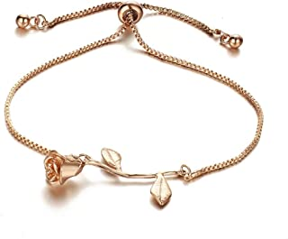 3D Rose Flower Bracelet, Charm Gold Silver Personalized Rose Pendant Chain Bracelet Link Jewelry Gifts for Women Girls