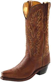 Womens 12-Inch Genuine Distressed Leather Snip Toe Tan Canyon Western Cowboy Boot