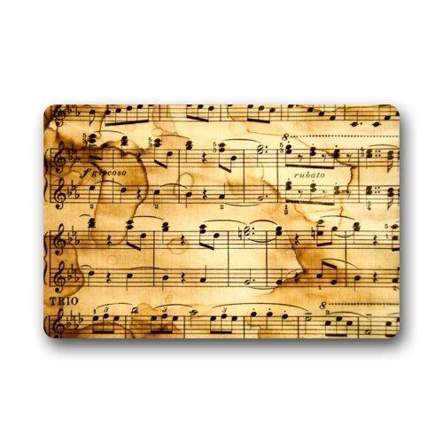 Felpudo Vintage música Nota Patrón de arte Felpudo alfombra para interiores/exteriores/puerta delantera/baño mats Felpudo (23,6x 15,7cm)