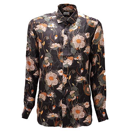 Bagutta 4363AD Camicia Uomo Multicolor Pure Silk Shirt Man [43 (17)]