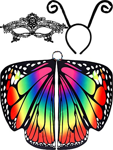 3 Pieces Butterfly Shape Shawl Cloak Ant Antenna Headband Lace Mask for Costume Accessory (Color Set 1)