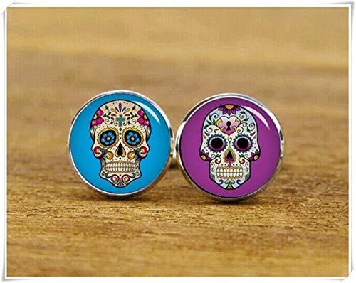 Beautiful Dandelion Gemelos de calavera de azúcar hipster, cráneo y fondo, gemelos...