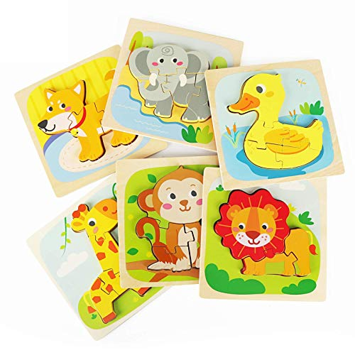 Fansteck Wooden Jigsaw Puzzles 6 Pcs, Zoo Animals Learning STEM Montessori Toys for Toddler, Shape Cognition Sorter Arts Crafts Gift for Boys Girls aged 1+