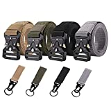 Tactical Belt,4 Pack Military Style Belts , Riggers Belts,Heavy-Duty Quick-Release Metal Buckle with Extra 4 Pack Molle Key Ring Holder
