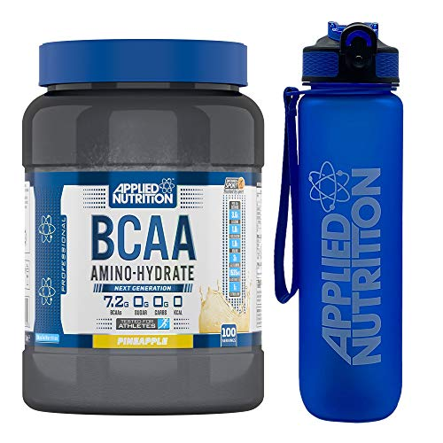 Applied Nutrition Bundle BCAA Amino Hydrate Powder 1.4kg + Lifestyle Water Bottle 1000ml | Branched Chain Amino Acids Supplement, Electrolytes, B Vits, Intra Workout & Recovery Drink (Pineapple)