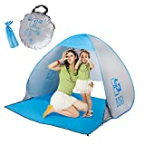 BOGI Beach Tent Outdoor Automatic Pop Up Instant Cabana and Sun Shelter For 2-3 Person Family,Lightweight Portable Waterproof Cabin Anti UV Baby Play Tent For Camping Fishing Hiking Picnicking(Silver)