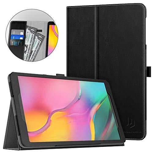 Dadanism Schutzhülle Kompatibel für Samsung Galaxy Tab A 10.1 2019 Tablet (SM-T510 / SM-T515), Tablet Hülle aus Kunstleder Ständer mit Stiftschlaufe Kartenfach - Schwarz