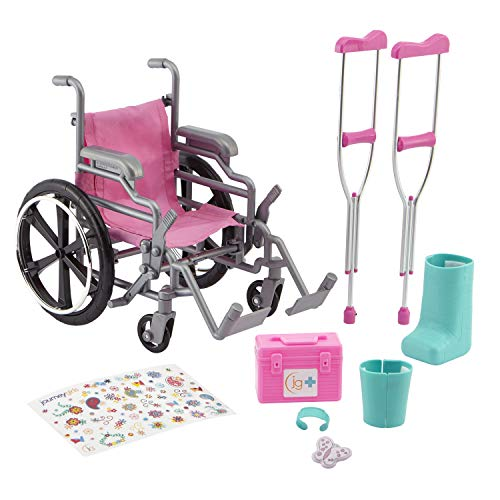 Journey Girls Wheelchair Playset for 18 Inch Dolls, Includes Cast and Crutches, Amazon Exclusive