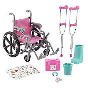 This product ships in packaging that reveals what's inside and cannot be hidden. Oh no! It looks like one of your Journey Girls took a tumble! Luckily, she has this Wheelchair and Crutch set to help her out. Journey Girls Wheelchair Playset includes ...
