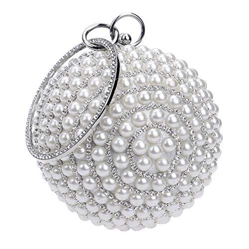 G-rf Ball Shape Women Fashion Banquet Party Pearl Handbag (Black) (Color : Silver)