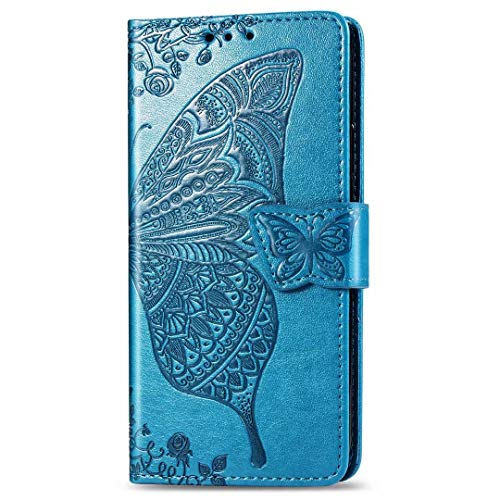 Nadoli Leather Case for Galaxy A32,Retro Butterfly Flower Soft Inner Magnetic Bookstyle Wrist Strap Wallet Flip Case Cover with Stand for Samsung Galaxy A32,Blue