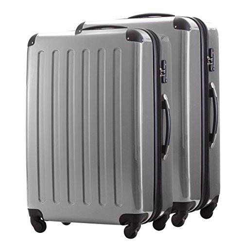 HAUPTSTADTKOFFER® 2-delige kofferset met harde schalen · 2x koffer 130 liter (75 x 52 x 32 cm) · hoogglans · TSA cijferslot · ZILVER