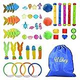 Ulikey Tauchspielzeug Spielzeug, 44 Stück Schwimmbad Spielzeug, Tauchringe Tauchen Algen Tauchsticks Tauch Edelsteine Schwimmspielzeug, Unterwasser Tauch Pool Spielzeug für Kinder Jungs Mädchen
