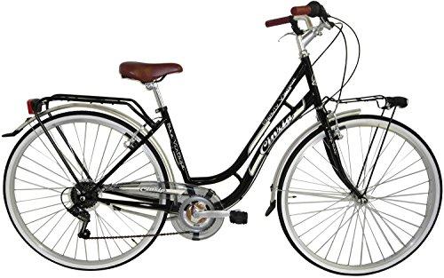 Fahrrad Cicli Cinzia Beauty Damen, Stahlrahmen, 6-Gang, 28 Zoll, Größe 45 (Black, H 45)