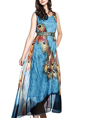 Wantdo Women's Peacock Printed Bohemian Summer Maxi Dress US 16