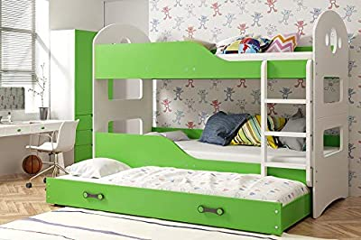 Domin Triple trundle bunk bed FREE mattressess many colour combination