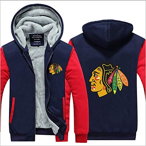 Yajun Herren Fleece Hoodie Winter Jacken NHL Chicago Blackhawks Freizeit Sweatshirt Baumwolle Wild Coats Cosy Exquisite Outwear,Blue-red,2XL