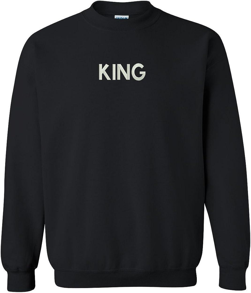 Trendy Apparel Shop King Embroidered Crewneck Sweatshirt