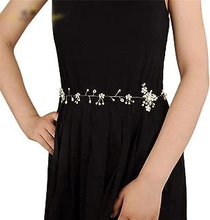 LUKEEXIN Bridal Belt Rhinestone Freshwater Pearl Crystal Wedding Dress Accessories Wedding Belt (Color : Ivory)