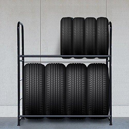 LARS360 Porte-pneu 107 x 46 x 117 cm Porte-pneu pour 8 pneus Étagères de rangement Étagère d'atelier Étagère lourde Jante Rack